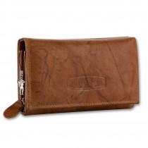 Money Maker Geldbörse Echtleder tan Damen Portemonnaie RFID Schutz OPJ704C