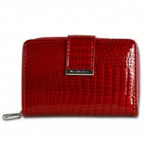 Jennifer Jones Geldbörse Portemonnaie, Hochformat Croco echtes Leder rot OPJ711R