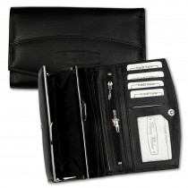 Geldbörse Leder schwarz Portemonnaie Langformat Kellnerbörse Money Maker OPJ719S