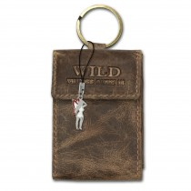 Wild Things Only Etui, Geldbörse Leder braun Minibörse Schlüsseltasche OPJ904N