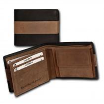 DrachenLeder Antikleder Portemonnaie schwarz-braun Brieftasche OPS107S