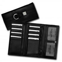 DrachenLeder Damen Geldbörse echtes Leder groß schwarz Gürtelschnalle OPS701S