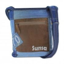 Sunsa Vintage Upcycle Crossbody Umhängetasche Tasche Canvas Leder braun OTA203N