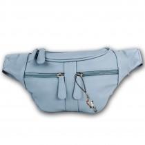 New Bags trendige Gürteltasche Stauraum PU-Leder Bauchtasche softblau OTD5023H