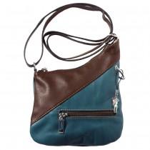 Florence Mini Umhängetasche Damen Handtasche echtes Leder blau, braun OTF100B