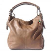 Florence Beuteltasche Echtleder braun, taupe Damen Hobo Bag Tasche OTF101C