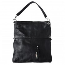 Schultertasche Umhängetasche Leder schwarz Damen Hobo Bag DrachenLeder OTF102S