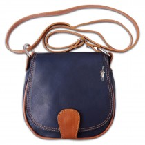 Florence Umhängetasche Damen Handtasche Satteltasche Leder dunkelblau OTF103B