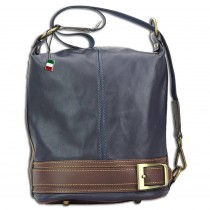 Florence Schultertasche,Rucksack wandelbar Damen Handtasche Leder blau OTF104M