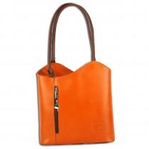 Florence 2in1 Schultertasche,Rucksack Rindsleder wandelbar orange braun OTF106O