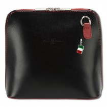 Florence Mini Umhängetasche Damen Handtasche echtes Leder schwarz rot OTF109S