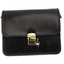 Florence Umhängetasche Damen Handtasche Satteltasche Leder schwarz OTF124S