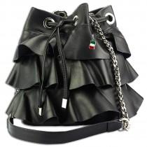 Florence Schultertasche mit Volants Leder Handtasche Nieten schwarz OTF125S