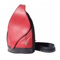 Florence Rucksack, Schultertasche Echtleder rot-schwarz Damenhandtasche OTF602R