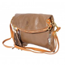 Florence 3in1 Umhängetasche Clutch Damen Tasche Wristlet Leder braun OTF802C