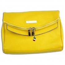 Florence 2in1 Damen Schultertasche Clutch echtes Leder Tasche gelb OTF803Y