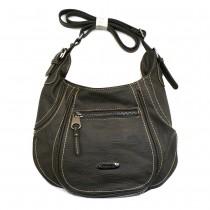 Bag Street Umhängetasche grau Leder-Damenhandtasche OTJ100K