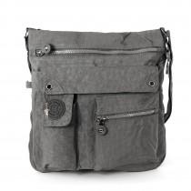 Bag Street Umhängetasche Crinkle Nylon grau Cross-Body Schultertasche OTJ206K