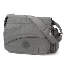 Bag Street Umhängetasche Nylon grau Modische Überschlagtasche Crossover OTJ214K