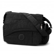 Bag Street Umhängetasche Nylon schwarz Überschlagtasche Crossover OTJ214S