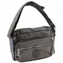 Bag Street leichte Umhängetasche Nylon grau Handtasche Schultertasche OTJ227K