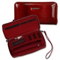 Jennifer Jones Geldbörse, Wristlet Leder rot Croco RFID Portemonnaie OTJ505R