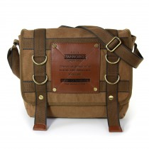 Manoro Umhängetasche, Messenger Bag Canvas khaki, braun Crossover Tasche OTK212N