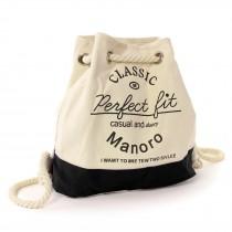 Rucksack, Handtasche Canvas weiß, schwarz City-Rucksack Tasche Manoro OTK216S