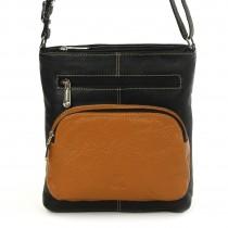 Umhängetasche Damen Handtasche Leder schwarz Schultertasche DrachenLeder OTZ101S