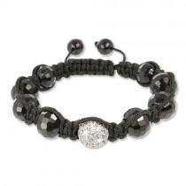 SilberDream Shamballa Armband schwarz 925 Sterling Silber Kugel SDA032
