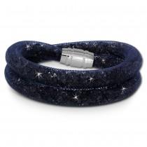 SilberDream Glitzerarmband Minikristalle blaugrau Doppelarmband Damen SDA051B9