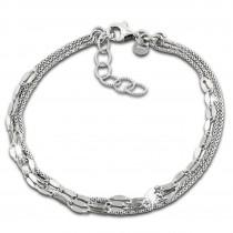 SilberDream Armband Plättchen 925 Sterling Silber Damen 18cm - 21cm SDA1208J