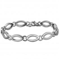 SilberDream Armband Oval matt/glänzend 925 Sterling Silber 19cm Damen SDA466J