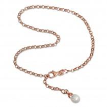 SilberDream Fußkette Perle 26cm Rose vergoldet und 925 Silber SDF0315E