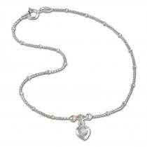SilberDream Fußkette Herz 25cm Zirkonia weiß Silber SDF2025W