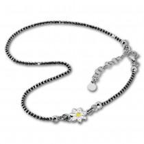 SilberDream Fußkette Blume 27cm geschwärzt diamantiert 925 Silber SDF2224K