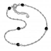 SilberDream Fußkette Perlen schwarz 27cm 925 Sterling Silber SDF2234J