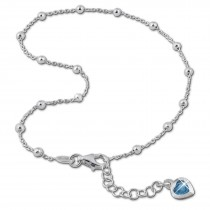 SilberDream Fußkette Herz 26cm Zirkonia blau 925 Sterling Silber SDF2265B
