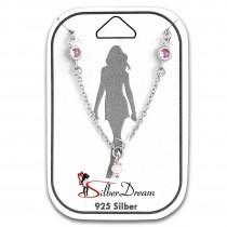 SilberDream Fußkette Zirkonia rosa 25cm 925 Sterling Silber SDF5105A