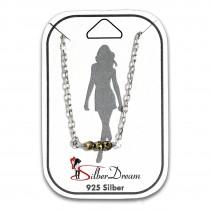 SilberDream Fußkette 3er Pyrit Perlen geschliffen 25cm 925 Silber SDF5175K
