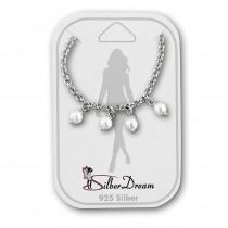 SilberDream Fußkette Perlen weiß 25cm 925 Sterling Silber SDF5225W