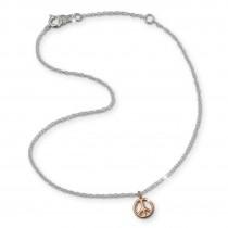 SilberDream Fußkette Peace rose vergoldet 925er Sterling Silber SDF8001E