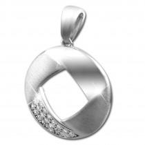 SilberDream Ketten Anhänger Rund Zirkonia weiß 925 Silber SDH428W