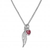 Teenie-Weenie Kinderkette Flügel-Herz Zirkonia pink 925 Silber SDK01738