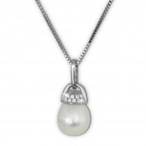 SilberDream Halskette Süßwasser Perle weiß Zirkonia 925 Silber Damen SDK1519W