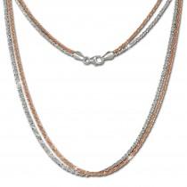 SilberDream Collier Kette gedreht rose vergoldet und 925 Silber 45cm SDK23345T