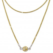 SilberDream Collier Kette Kugel Blatt vergoldet 925 Silber Damen 46cm SDK24146Y