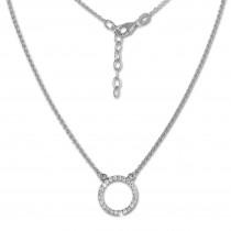 SilberDream Collier Kette Zirkonia rund weiß 925 Silber Damen 42-47cm SDK28642J