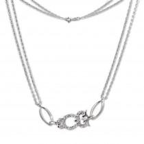 SilberDream Kette Eule Zirkonia weiß 925er Silber 44cm Halskette SDK424W