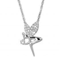 SilberDream Halskette mit Anhänger Fee Zirkonia weiß 45cm 925er Silber SDK4982W